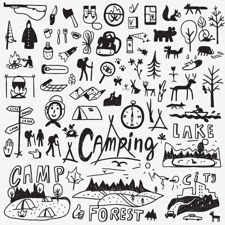 travel icon: Camping - set icons in sketch style , design elements
