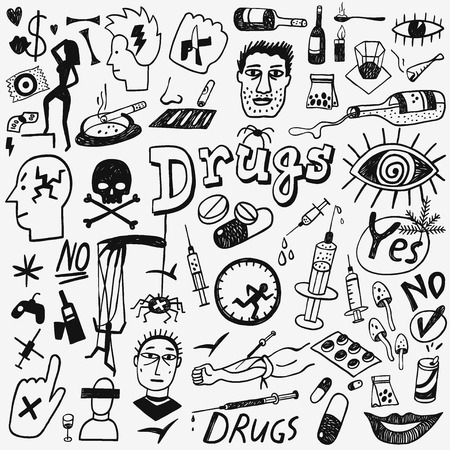 methamphetamine: Drugs - set icons in sketch style , design elements Illustration
