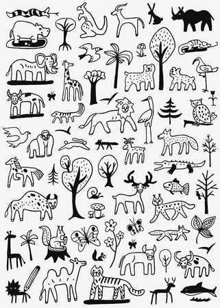 animaux icônes de style de croquis, des éléments de conception Vecteurs