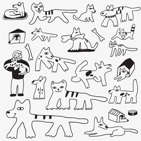 dog walking: dogs and cats doodles