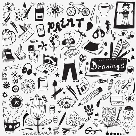 paleta de pintor: Herramientas de arte doodles set Vectores