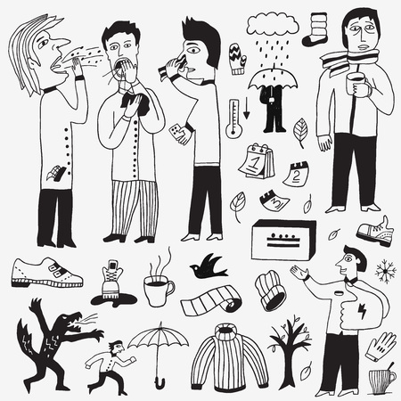 sick people: sick people , autumn doodles