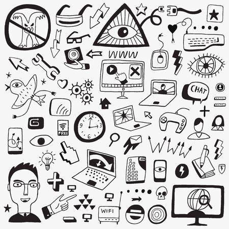 web icons: web doodles icons Illustration