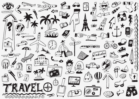 travel icon: travel doodles set
