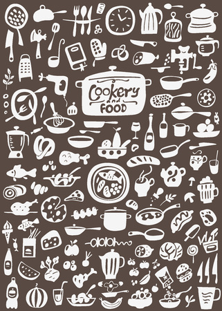raw egg: kitchen tools , food - doodles set