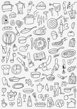 cookery , food - doodles set