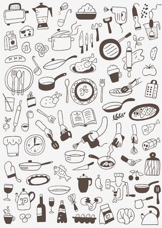 cookery , food - doodles set