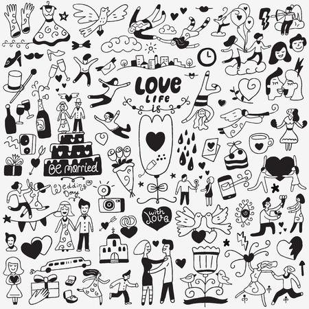 wedding love: love , wedding day - doodles set Illustration