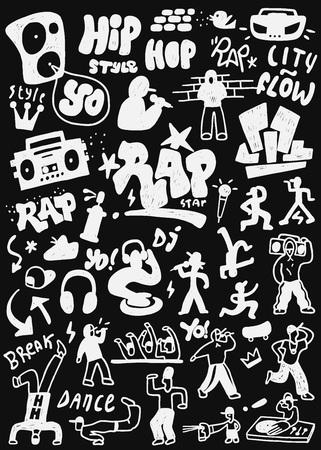 rap music - vector icon set , design elements