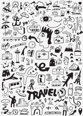 travel transportation doodle Illustration