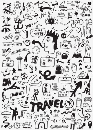 travel transportation doodle Иллюстрация