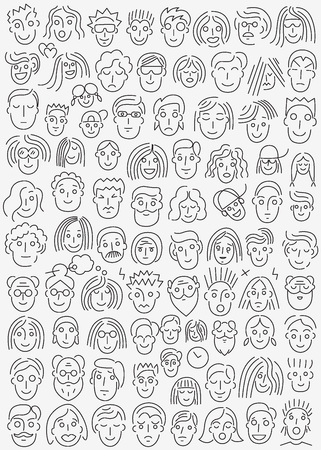 faces of people - vector icons , design elements
