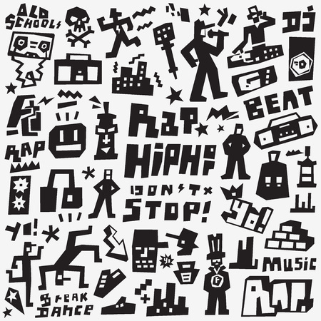 graffiti , rap - graphic vector icons, design elements