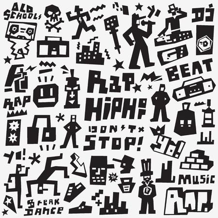 graffiti, rap - icone vettoriali grafico, elementi di design