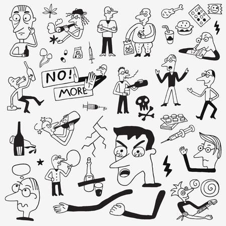 drug addict people doodles