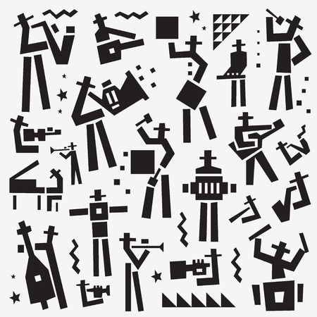 Jazz band vector logo, musicians symbol collection