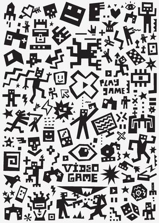 videojuegos - garabatos, conjunto de dibujos animados de siluetas vectoriales Ilustración de vector