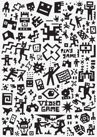Videospiele - Kritzeleien, Vektorsilhouetten Cartoon-Set Vektorgrafik