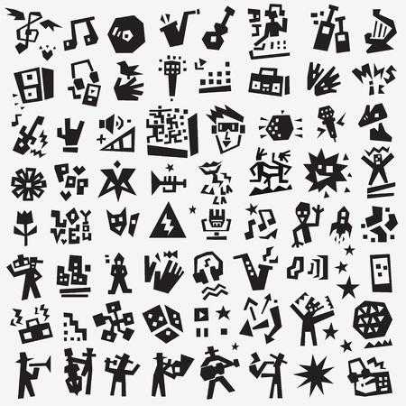 music symbols - doodles , vector silhouettes cartoon set