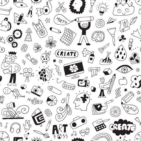 Art tools seamless design elements Vektoros illusztráció