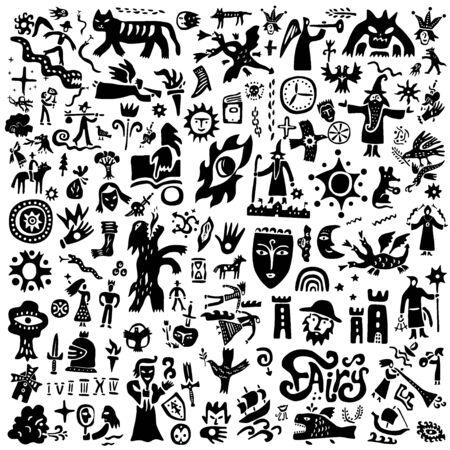 fairy tale , history , doodle set vector illustration backgrounds Векторная Иллюстрация