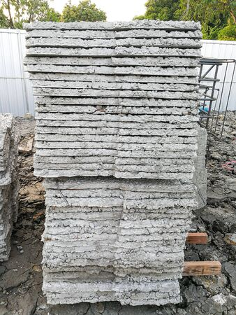 group of square concrete cemrnt many layer prepare for make pattern foundation pile