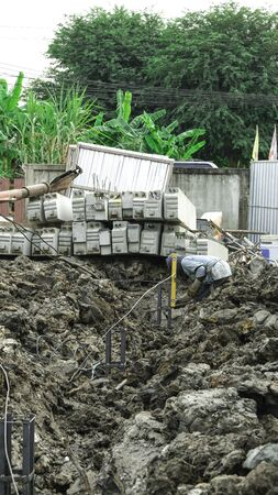 costruction site landscape and group of cement piles prepare for building house 版權商用圖片