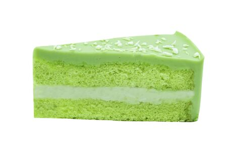green pandan coconut cake slice piece. Isolated on white background