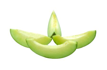 Fresh green honeydew fruit slice to piece. Isolated melon on white baclground with clipping path 版權商用圖片