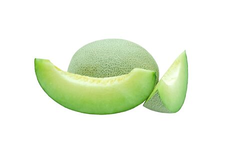 Fresh honeydew fruit slice to piece green texture. Isolated on white baclground with clipping path
