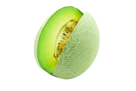 fresh honey dew slice isolated on whited background with clipping path