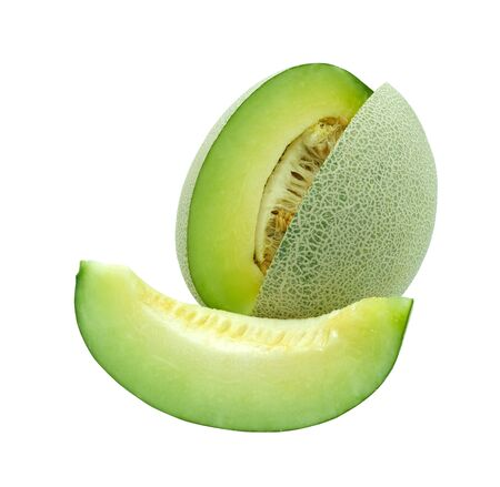fresh honeydew fruit slice to piece isolated on white baclground with clipping path