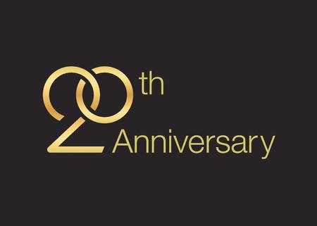 Wedding icon for 20th anniversary. Twisted wedding rings. Vektoros illusztráció