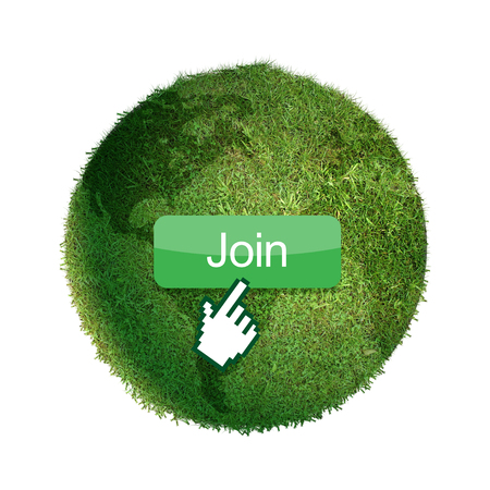 button grass: Grass globe with join button and mouse cursor.