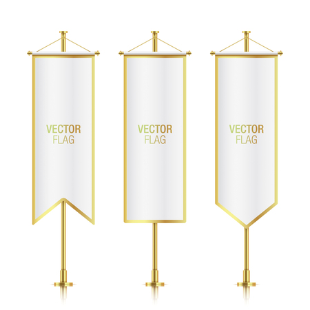 crossbar: White elegant vertical flag mockups with golden strokes, isolated on background. Set of white vector banner flag templates hanging on a golden poles.