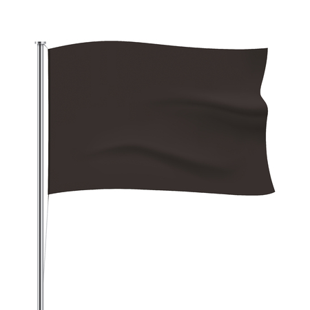 standard steel: Black vector horizontal flag isolated on white background. Black waving flag template. Realistic flag mockup.