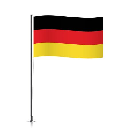 deutschland: Germany vector flag template. Waving Deutschland flag on a metallic pole, isolated on a white background.