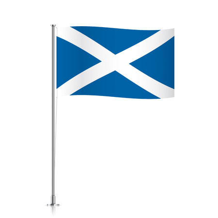 scotish: Scotish vector flag template. Waving flag of Scotland on a metallic pole, isolated on a white background.