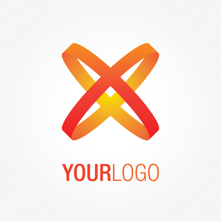 trademark: Abstract colorful logo, with crossing orange and red lines. Generic vector logo template.
