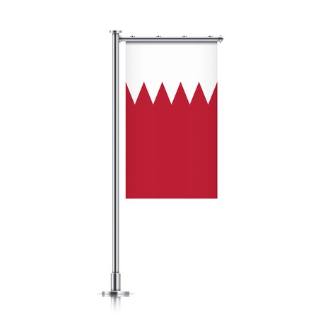 Bahrain vector banner flag hanging on a silver metallic pole. Vertical Bahrain flag template isolated on a white background.