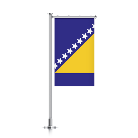 Bosnia vector banner flag hanging on a silver metallic pole. Vertical Bosnia flag template isolated on a white background. Illustration