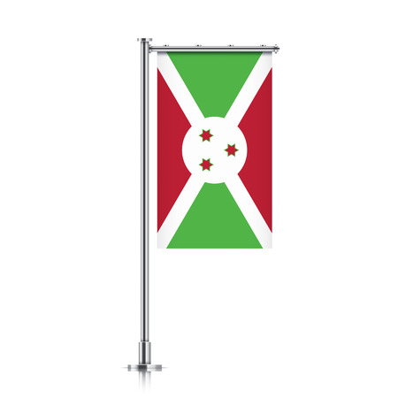 Burundi vector banner flag hanging on a silver metallic pole. Vertical Burundi flag template isolated on a white background. Illustration