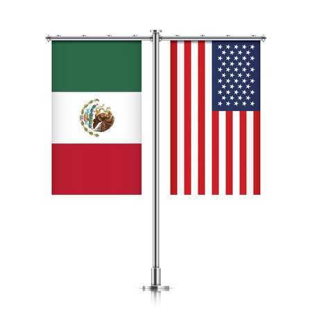 allies: Mexico and United States vector banner flags, hanging side by side on a silver metallic poles. Mexico and USA friendship concept.