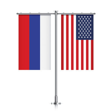 allies: Russian Federation and United States vector banner flags, hanging side by side on a silver metallic poles. Russia and USA friendship concept.