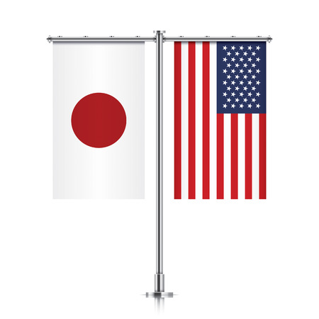 Japan and United States vector banner flags, hanging side by side on a silver metallic poles. Japan and USA friendship concept.