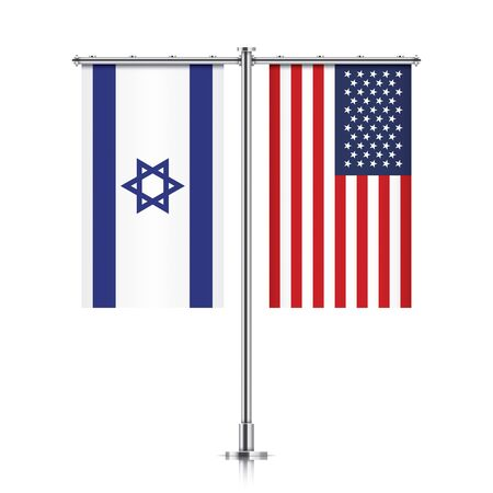 allies: Israel and United States vector banner flags, hanging side by side on a silver metallic poles. Israeli and USA friendship concept.