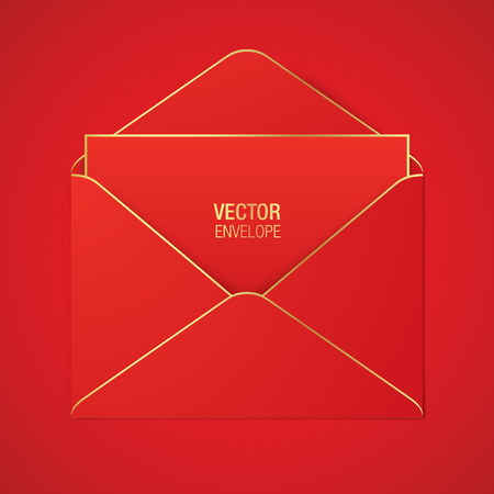 Red vector envelope template. Red opened envelope with golden elements, lying on a red background. Realistic mockup.