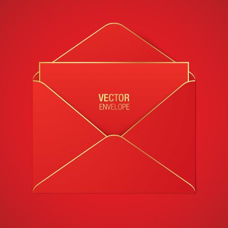Modelo de envelope vector vermelho. Envelope aberto vermelho com elementos dourados, encontrando-se em um fundo vermelho. Maquete realista.