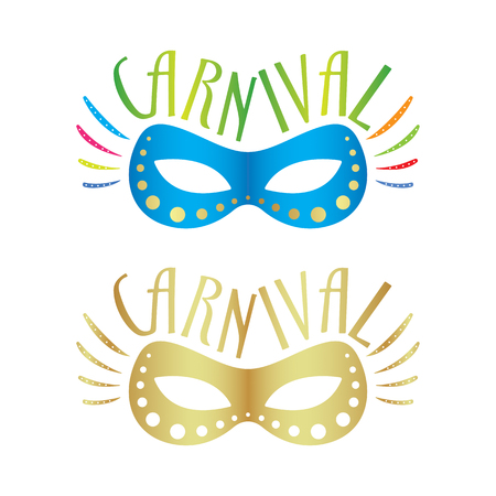 costume ball: Blue and golden carnival mask vector illustrations, isolated on background.