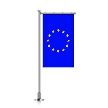 Vector banner flag of European Union hanging on a silver metallic pole.